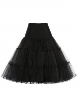 Black Women Fashion Vintage Style Tutu Mesh Tulle Mermaid Midi Skirt Wedding Dress