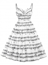 Femmes Fashion Trendy Style musique Note Imprimer sangle sans manches Swing Dress