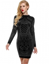 Black Geometric Retro Rhinestone O-neck Bodycon Casual Dress