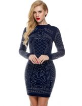 Bleu foncé Meaneor Sexy Geometric Retro Rhinestone High O-neck Bodycon Tight Casual Party Dresses