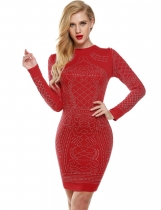 Red Meaneor Sexy Géométrique Rétro Rhinestone Haut O-neck Bodycon Tight Casual Party Robes