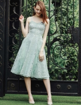 Lace Beading Spaghetti Strap Mesh Patchwork Elegant Party Dress
