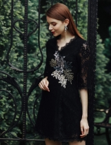 Black Floral Lace Embroidery Half Sleeve Short Dress