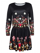 Long Sleeve Floral Elastic Shift Casual Dress