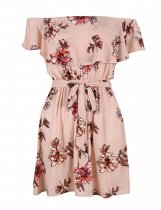 Sleeveless Off The Shoulder Print Belted Elastic Dress