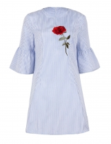 Light blue Half Bell Sleeve Embroidery Stripes Sheath Dress