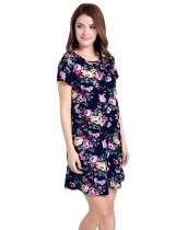 Tmavě modrá Short Sleeve O Neck Floral Shift Casual Dress