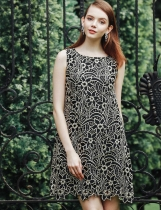 Sleeveless Round Collar Embroidery Cut Out A-Line Going Out Dress
