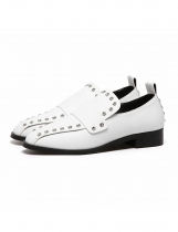 White Fashion Solid Rivet Square Toe Synthetic Leather Shoes
