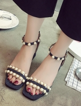Black Faux Pearl Embellished Two Part Chunky Heel Ankle Strap Sandals