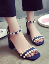 Blue Faux Pearl Embellished Two Part Chunky Heel Ankle Strap Sandals
