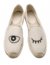 Eye Pattern Slip-on Canvas Espadrille Flats