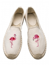 Beige Flamingo Embroidery Slip-On Canvas Espadrille Flats