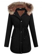 Black Artificial Fur Hooded Drawstring Waist and Hem Thickening Coat