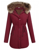 Wine red Artificial Fur Hooded Drawstring Waist and Hem Thickening Coat