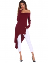 Dark red Women V-Neck Off Shoulder Long Sleeve Asymmetrical T-Shirt Top