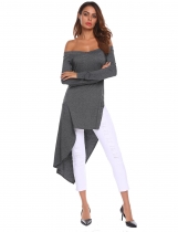 Dark gray Women V-Neck Off Shoulder Long Sleeve Asymmetrical T-Shirt Top