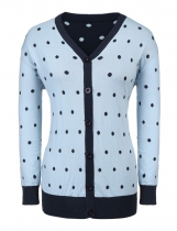 Light blue Women V-Neck Long Sleeve Dot Contrast Color Plus Size Button Cardigan Sweater