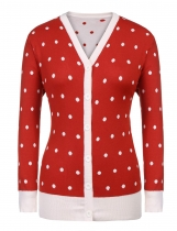 Dark red Women V-Neck Long Sleeve Dot Contrast Color Plus Size Button Cardigan Sweater