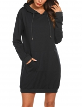 Black Women Hooded Long Sleeve Solid Loose Sweatshirt With Kangaroo Pocket