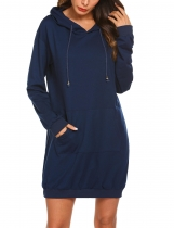 Navy blue Women Hooded Long Sleeve Solid Loose Sweatshirt With Kangaroo Pocket