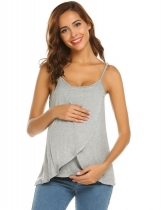 Grey Women Casual Spaghetti Straps Sleeveless Nursing Solid Breastfeeding Tops