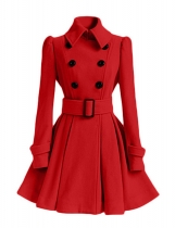 Dark red Women Warm Winter Turn Down Collar Pleated Hem Coat Outwear with Belt