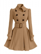 Khaki Women Warm Winter Turn Down Collar Pleated Hem Coat Outwear with Belt