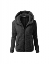 Black Women Fashion Casual Solid Zipper Winter Hooded Coat Outwear