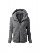 Dark gray Women Fashion Casual Solid Zipper Winter Hooded Coat Outwear