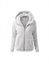 Light gray Women Fashion Casual Solid Zipper Winter Hooded Coat Outwear