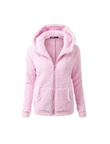 Light pink Women Fashion Casual Solid Zipper Winter Hooded Coat Outwear