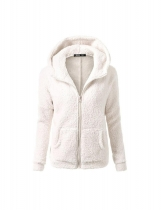 White Women Fashion Casual Solid Zipper Winter Hooded Coat Outwear