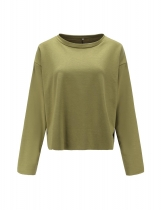 Army green Women Casual O-Neck Long Sleeve Solid Loose Pullover Sweatshirt