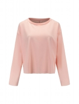 Light pink Women Casual O-Neck Long Sleeve Solid Loose Pullover Sweatshirt