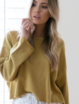 Yellow Women Casual O-Neck Long Sleeve Solid Loose Pullover Sweatshirt