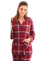 Dark red Unisex Turn-Down Collar Long Sleeve Lattice Print Button Closure Pajamas Set