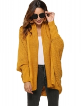 Yellow Women Fashion Solid Long Sleeve Loose Asymmetric Kimono Cardigan Coat