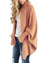 Light pink Women Fashion Solid Long Sleeve Loose Asymmetric Kimono Cardigan Coat