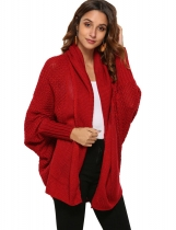 Wine red Women Fashion Solid Long Sleeve Loose Asymmetric Kimono Cardigan Coat