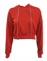 Red Women Casual Hooded Batwing Sleeve Metal Drawstring Pullover Sweatshirt Hoodie