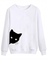 White Women Casual Long Sleeve Animal Cat Print Pullover Sweatshirt Tops