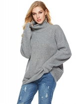 Grey Women Casual Soft Turtleneck Long Sleeve Knit Pullover Loose Sweater