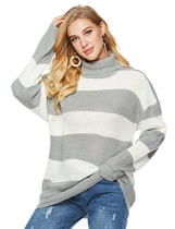 Gray white Women Casual Soft Turtleneck Long Sleeve Knit Pullover Loose Sweater