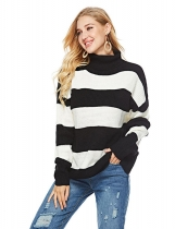 Black white Women Casual Soft Turtleneck Long Sleeve Knit Pullover Loose Sweater