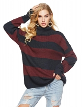 Red blue Women Casual Soft Turtleneck Long Sleeve Knit Pullover Loose Sweater