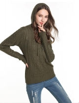 Army green Women Casual Hooded Neck Long Sleeve Solid Knitted Sweater