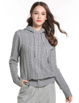 Gray Women Casual Hooded Neck Long Sleeve Solid Knitted Sweater