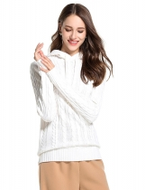 White Women Casual Hooded Neck Long Sleeve Solid Knitted Sweater