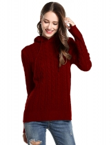 Wine red Women Casual Hooded Neck Long Sleeve Solid Knitted Sweater